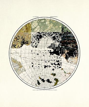 MINERAL CARTOGRAPHIES (EASTERN HEMISPHERE)Impresión Gliceé sobre papel de algodón75 x 36 cm2018