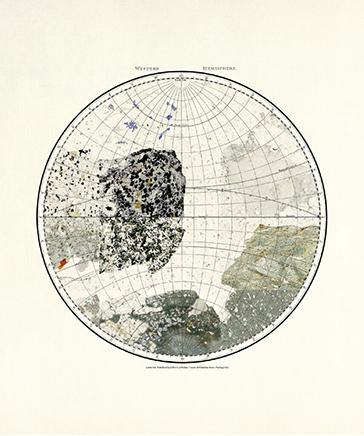 MINERAL CARTOGRAPHIES (WESTERN HEMISPHERE)Impresión Gliceé sobre papel de algodón75 x 36 cm2018