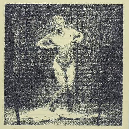 LEVINE/MCCARTHY IIDe la serie Blue PiecesDibujo por transcripción mecanográfica de texto sobre papelImagen: Paul McCarthy - Experimental Dancer Texto: Cary Levine - Bending Gender 30 x 30 x 3,52018