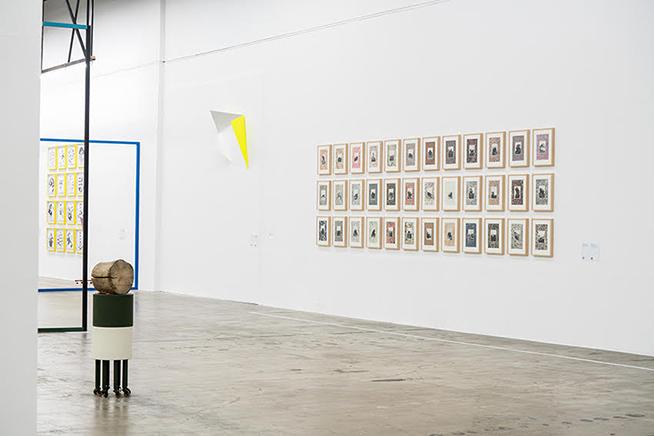 Erratic MarblesVista de instalaciónSerie de 36 collages. Impresión sobre páginas encontradas e impresión Glicleé sobre papel Hahnemühle Museum Etching 350g46.3 x 37 x 4.1 cm c/u2014