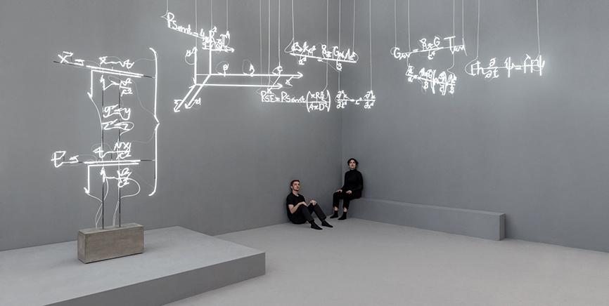 INSTRUMENTS FOR INQUIRING INTO THE WIND AND THE SHAKING EARTHInstalación de esculturas de neon y performance6500K neón, vidrio soplado blanco, estructura de metal, pintura y electricidadDimensiones variables  con la arquitectura2018