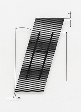 SHAPE HYPOTHESIS TEST HCollage escultórico; acero con recubrimiento de polvo45 x 62 x 5,5 cm2015SHAPE HYPOTHESIS TEST HSculptural Collage; powdercoated steel45 x 62 x 5,5 cm2015