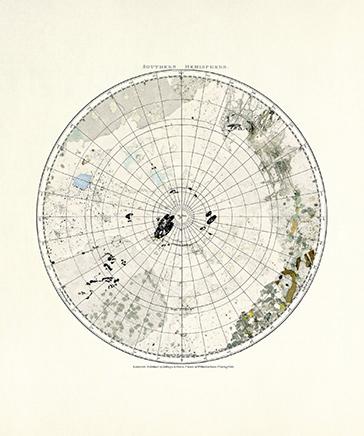 MINERAL CARTOGRAPHIES (SOUTHERN HEMISPHERE)Impresión Gliceé sobre papel de algodón75 x 36 cm2019