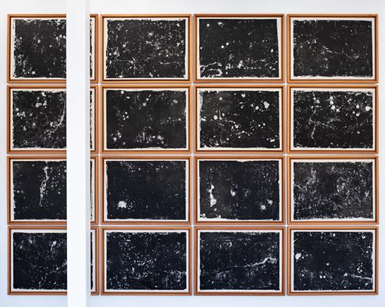 STELLAR16 pinturas en frottage y tinta de grabado sobre papel japonés84 x 111 x 4 cm c/u 450 x 340 x 5 cm2018