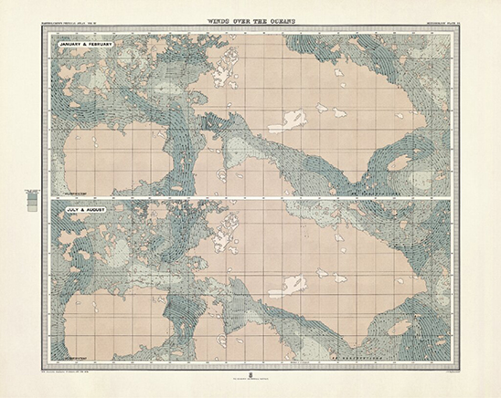 AEOLIAN MAPS (WINDS OVER OCEANS III)Impresión Gliceé sobre papel de algodón81 x 65 cm2019