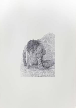 ACCONCI/ANZIEUDe la serie Blue PiecesDibujo por transcripción mecanográfica de texto sobre papelImagen: Vito Acconci - Trademarks Texto: Didier Anzieu - The Skin Ego 94 x 69 x 3,5 cm2018