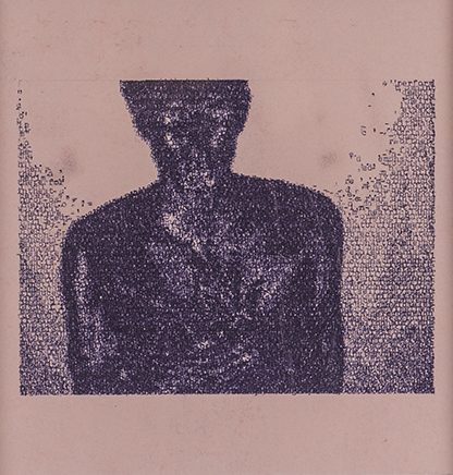 KRAYNAK/NAUMANDe la serie Blue PiecesDibujo por transcripción mecanográfica de texto sobre papel autocopiado rosadoImagen: Bruce Nauman - Art Make-up No.4 Black Texto: Janet Kraynak - Bruce Nauman´s Words 32 x 31 x 3,5 cm2018