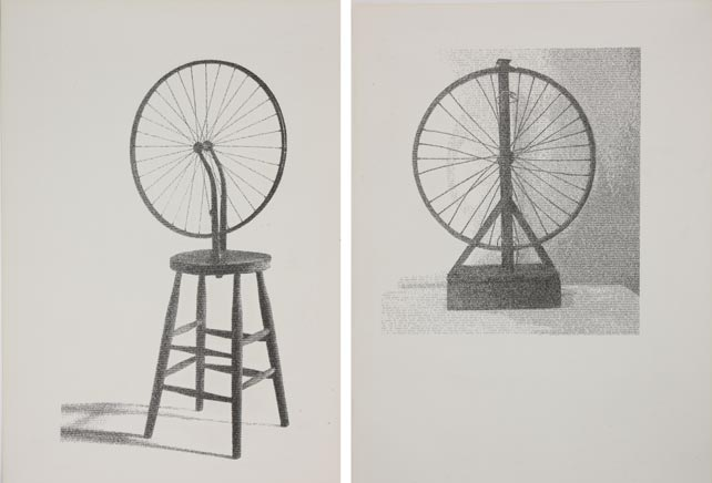 BICYCLEDíptico, Marcel Duchamp – bicycle wheel; Arthur Bispo do Rosario – A roda da FortunaDibujo por impresión tipográfica de textos sobre papel182 x 86 cm2012 - 2013