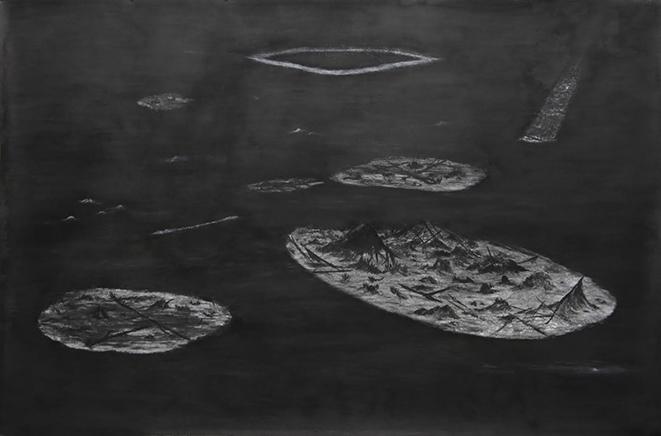 REFLECTION de la serie ESTO FUE OTRO LUGARCarbón sobre papel de algodón188 x 300 cm2010