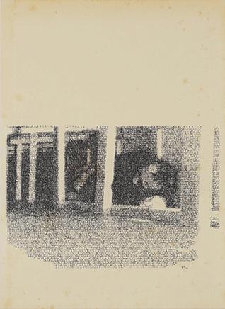 ACCONCI/BOURDONDe la serie Blue PiecesDibujo por transcripción mecanográfica de texto sobre papelImagen: Vito Acconci - Seedbed Texto: David Bourdon - An Eccentric Body of Art 37 x 30 x 3,52018