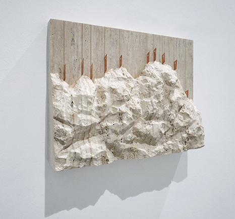 RUDE ROCKS N.1 (56 Bienal de Venecia)Travertino tallado a mano, cobre, acero inoxidable47 x 60 x 12 cm201556 Bienal de Venecia, All the World's Futures, curada por Okwui Enwezor