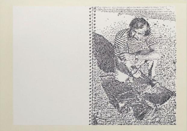 DERRIDA'S ROYAL ROAD TEST33 dibujos a maquina en papelDibujo por transcripción mecanográfica de texto sobre papelImagen: Royal Road Test por Ed Ruscha Texto: Copy, Archive, Signature: A Conversation on Photography por Jacques Derrida144 x 490 cm/ 36 x 54,5 cm c/u enmarcado2016