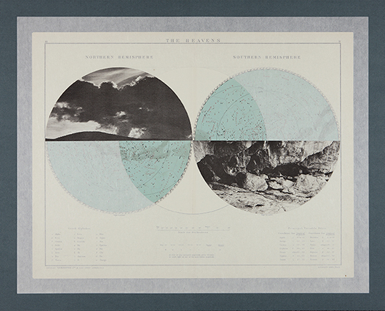 The Heavens 1De la serie The Victory AtlasCollage sobre páginas encontradas y papel Kawanaka62.2 x 77.3 cm2012