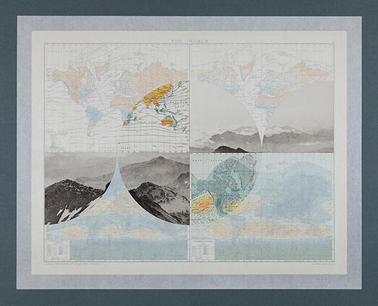The World 1De la serie The Victory AtlasCollage sobre páginas encontradas y papel Kawanaka63.5 x 77 cm2012
