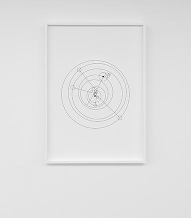 STUDIES ON COSMIC MOVEMENTSerie de dibujos a tinta en papel de archivoMarcos de madera blancos53 x 73 cm, enmarcado2016